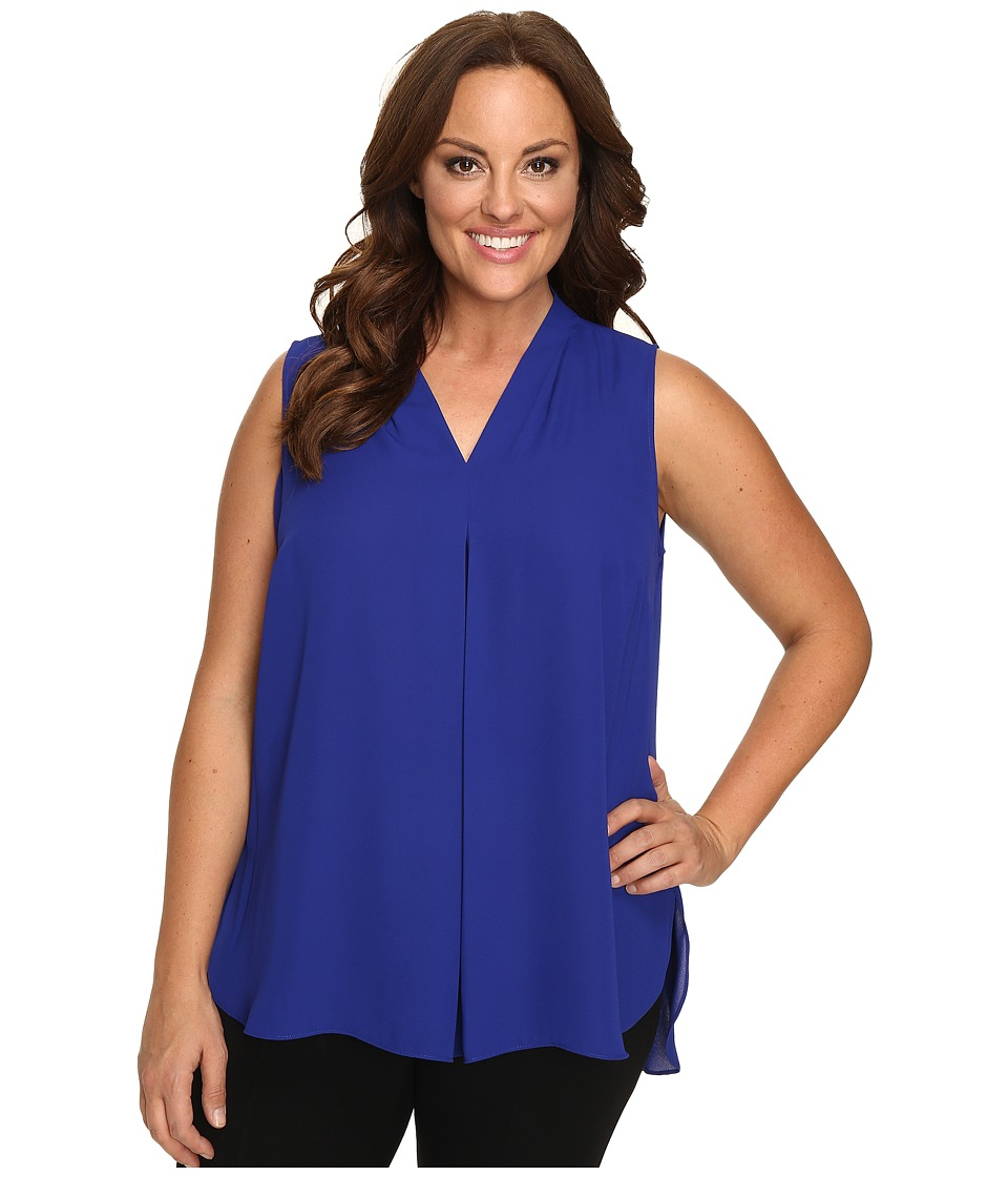 Vince Camuto Specialty Size - Plus Size Sleeveless V-Neck Blouse with Inverted Front Pleat (Anchor Blue) Women's Blouse