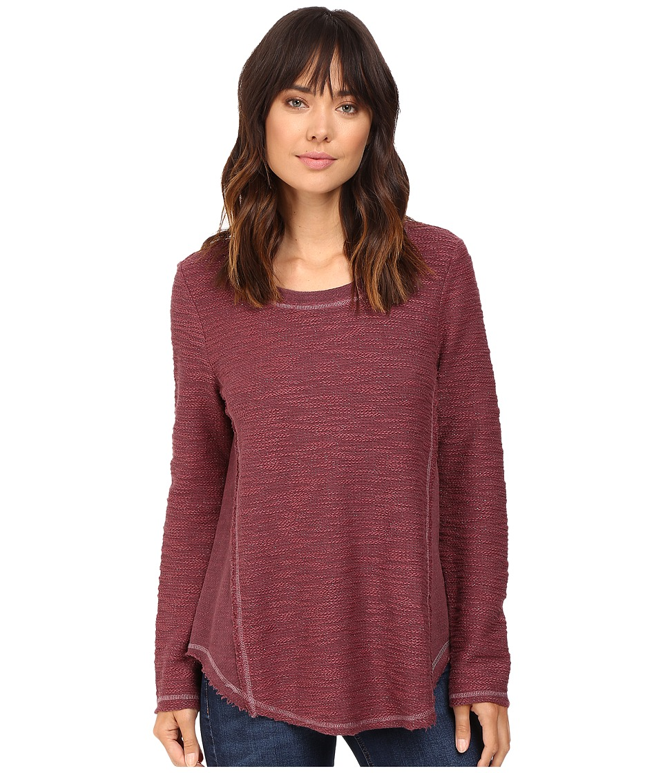 Dylan by True Grit - Lux Sparkle Slub Textured Crew (Claret) Women's T Shirt
