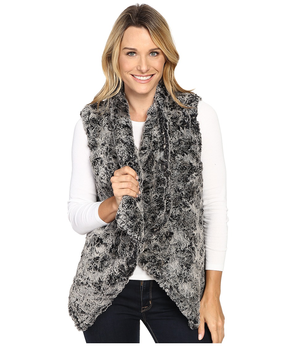 Dylan by True Grit - Plush Faux Classic Silky Fur Draped Vest w/ Fur Lining (Frosted Black) Women's Vest