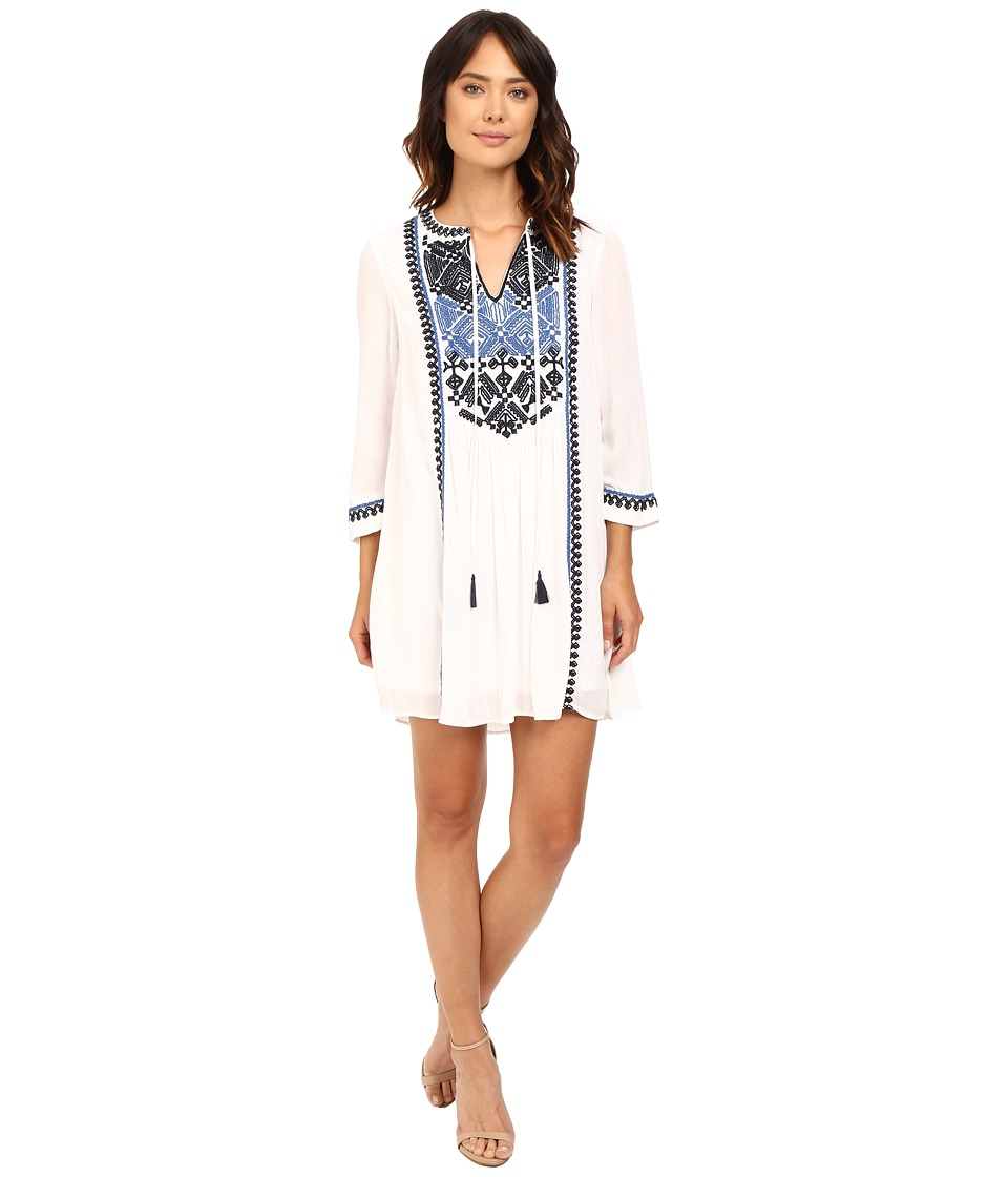 Adrianna Papell - Embroided 3/4 Sleeve Tunic Dress (Ivory) Women's Dress