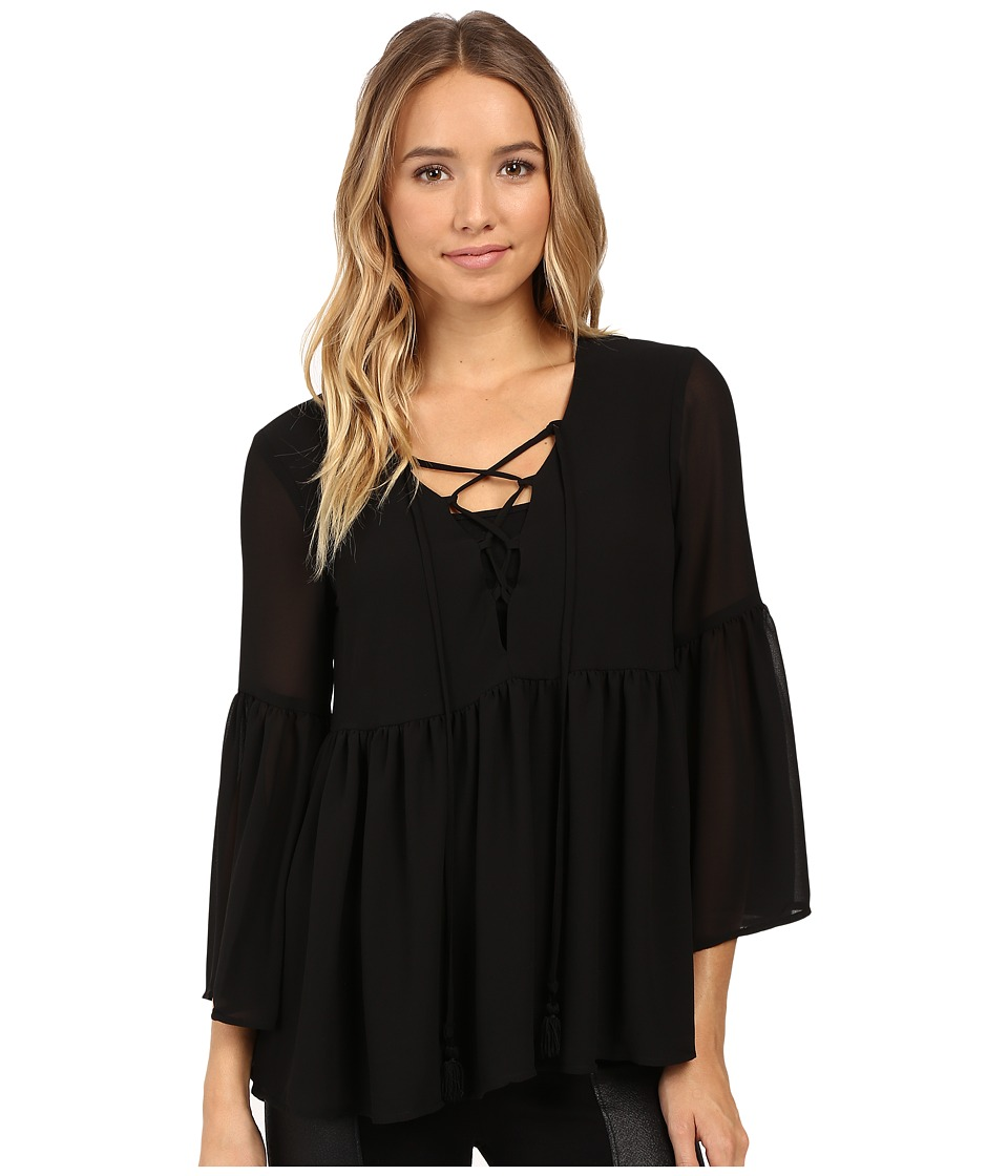 Show Me Your Mumu - Poet Tie Top (Black Chiffon) Women's Clothing