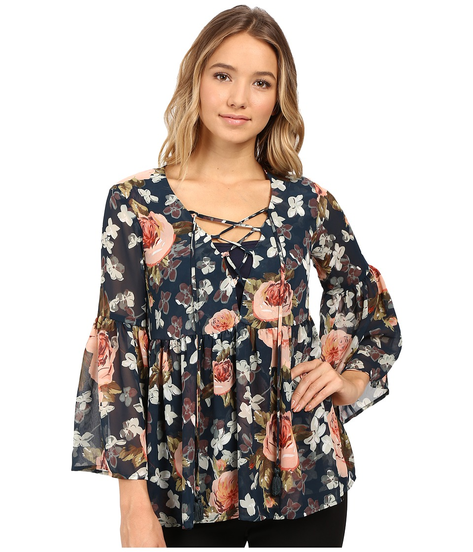 Show Me Your Mumu - Poet Tie Top (Fall in Love Floral) Women's Clothing