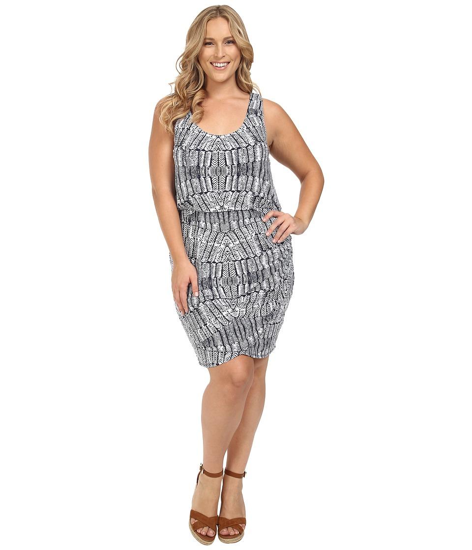 Tart - Plus Size Jan Dress (Stamped Feathers) Women's Dress