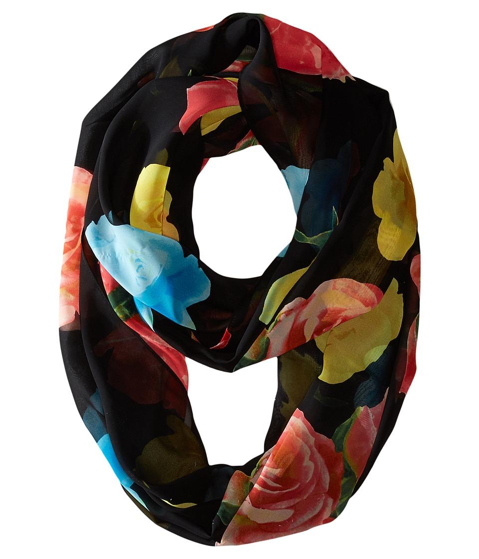 Calvin Klein - Rose Chiffon Infinity (Black Multi) Scarves