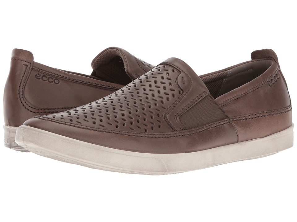ECCO - Collin Perforated Slip-On (Dark Clay Cow Nubuck) Men's Slip on Shoes