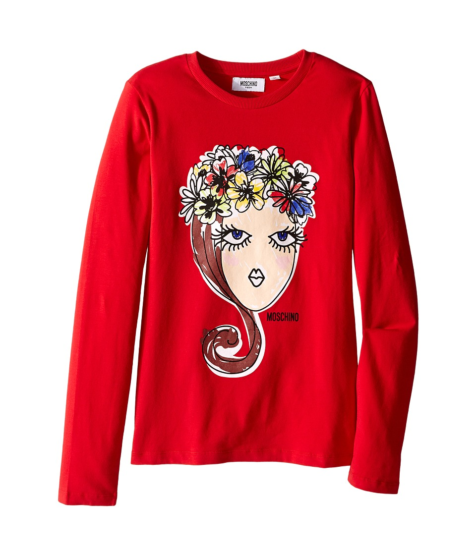 Moschino Kids - Long Sleeve Crown Flowers Tee Shirt Crown Flowers (Big Kids) (Red) Girl's T Shirt