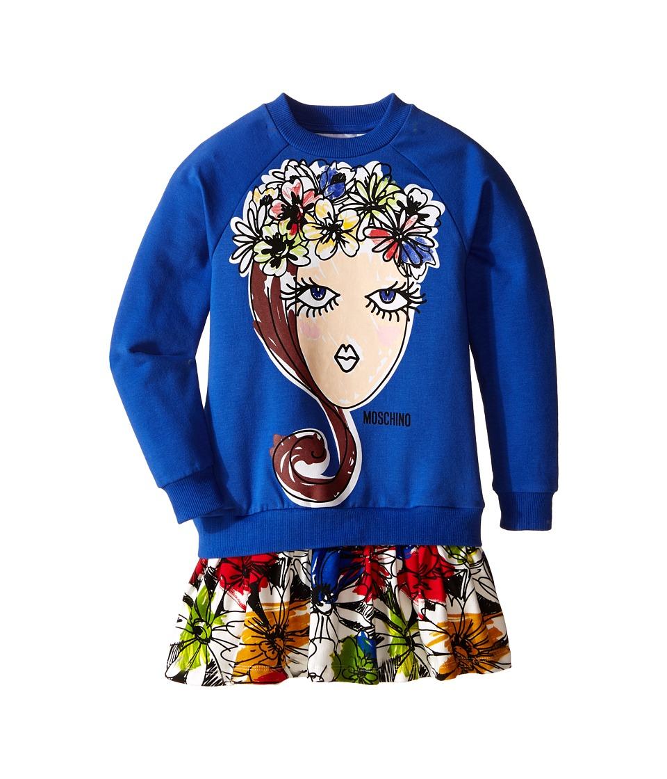 Moschino Kids - Flowers Crown Dress (Little Kids/Big Kids) (Blue) Girl's Dress