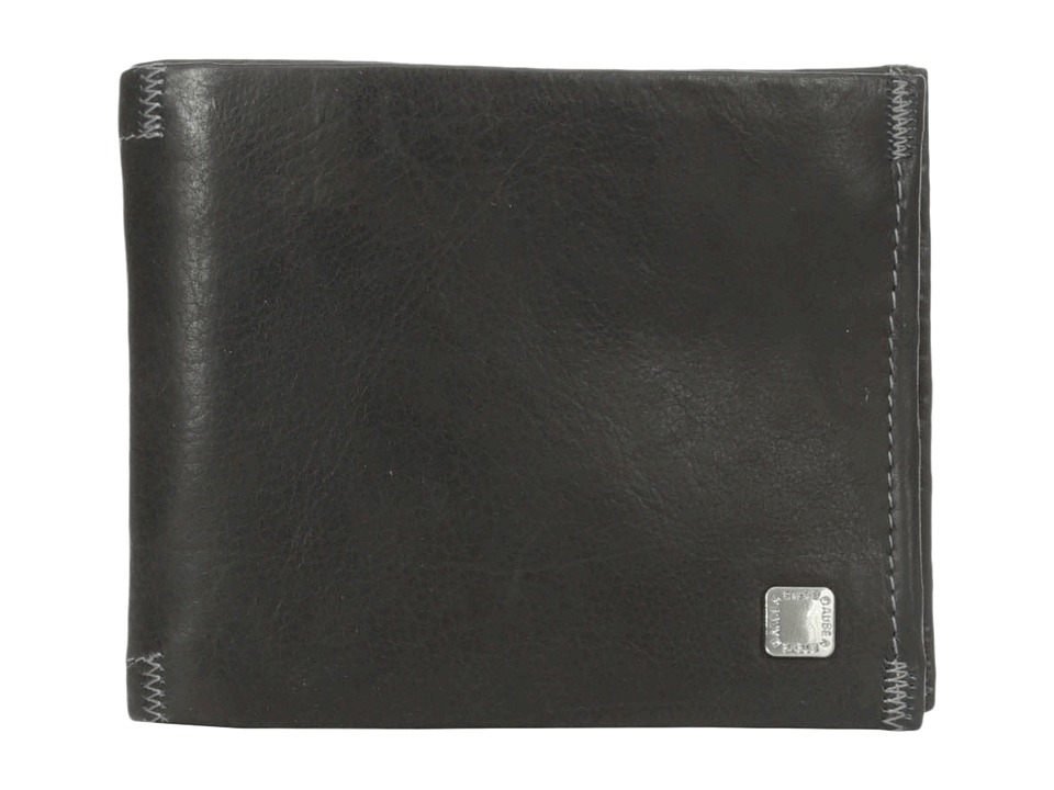 Steve Madden - Soft Pebble Leather Passcase Wallet (Black) Credit card Wallet