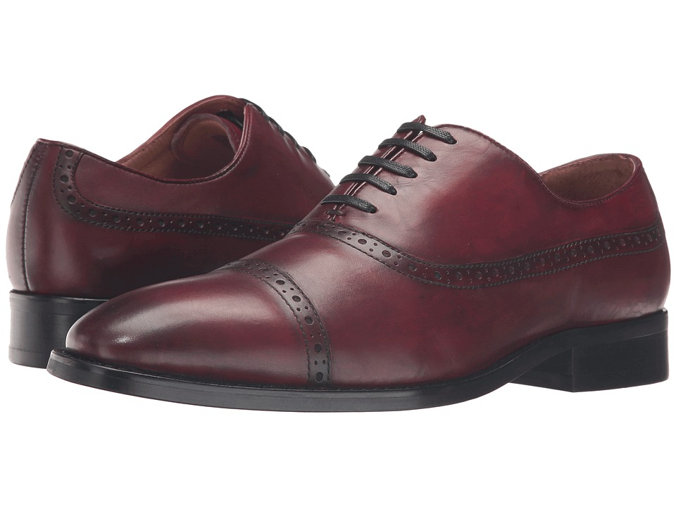 Dune London - Rebeche (Bordo Leather) Men's Lace Up Cap Toe Shoes