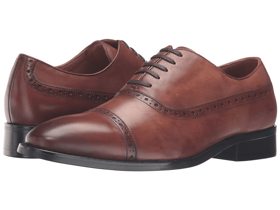 Dune London - Rebeche (Tan Leather) Men's Lace Up Cap Toe Shoes