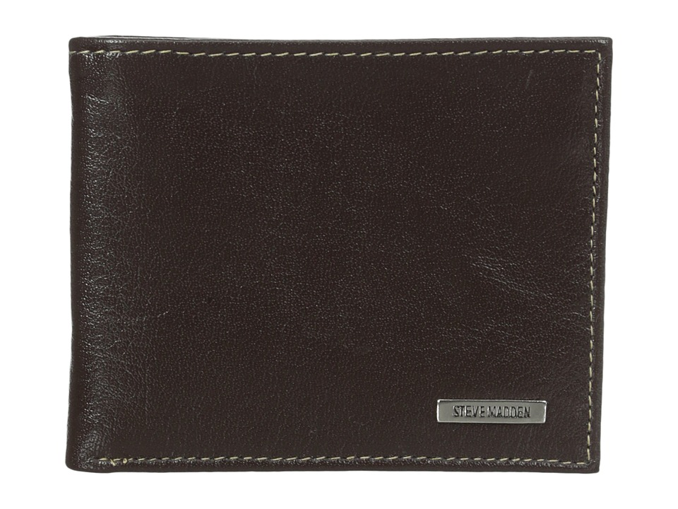 Steve Madden - Buff Crunch Leather Passcase Wallet (Brown) Credit card Wallet
