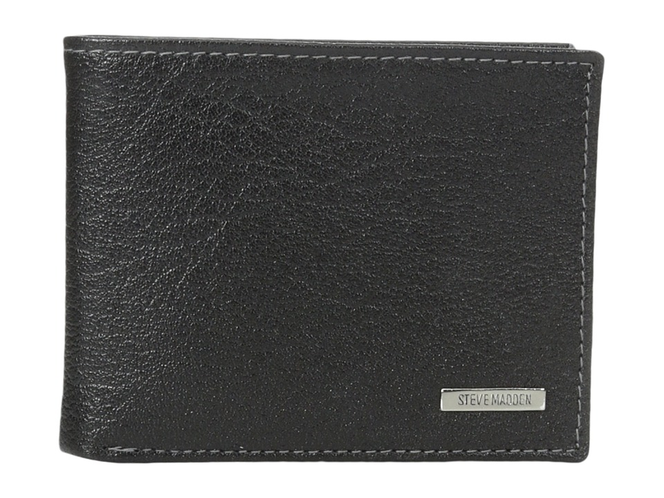 Steve Madden - Buff Crunch Leather Passcase Wallet (Black) Credit card Wallet