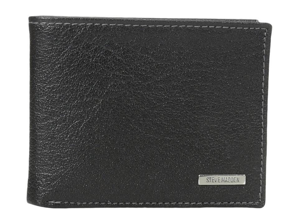 Steve Madden - Buff Crunch Leather Passcase Wallet (Black) Credit card Wallet