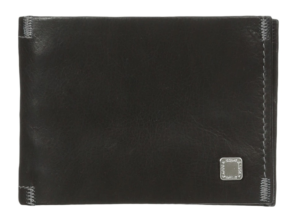 Steve Madden - Soft Pebble Leather Slimfold Wallet (Black) Wallet Handbags