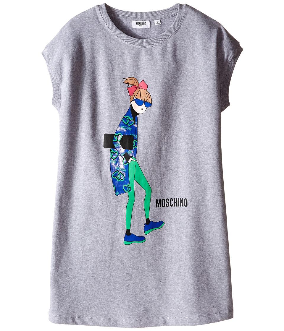 Moschino Kids - Sunglasses Woman Print Sweatshirt Dress (Big Kids) (Grey) Girl's Dress