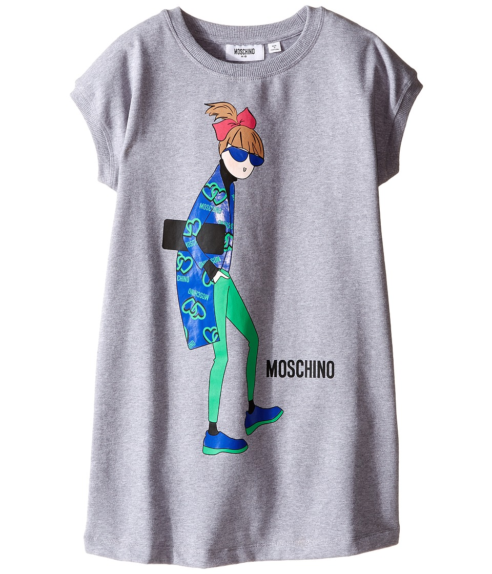 Moschino Kids - Sunglasses Woman Print Sweatshirt Dress (Little Kids/Big Kids) (Grey) Girl's Dress