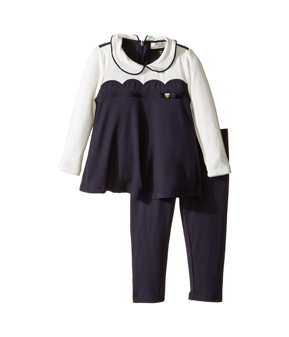 Armani Junior - Scallop Set (Infant) (Navy) Girl's Active Sets