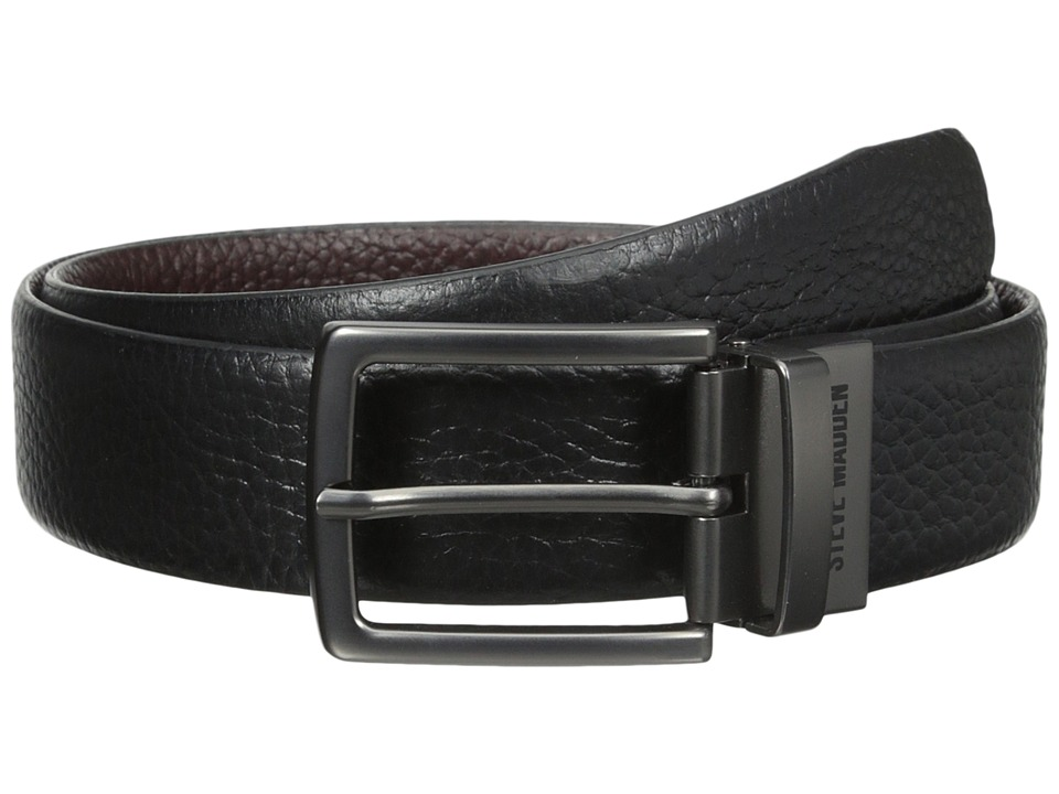 Steve Madden 35mm Pebble Leather Reversible Belt (Brown/Black) Men