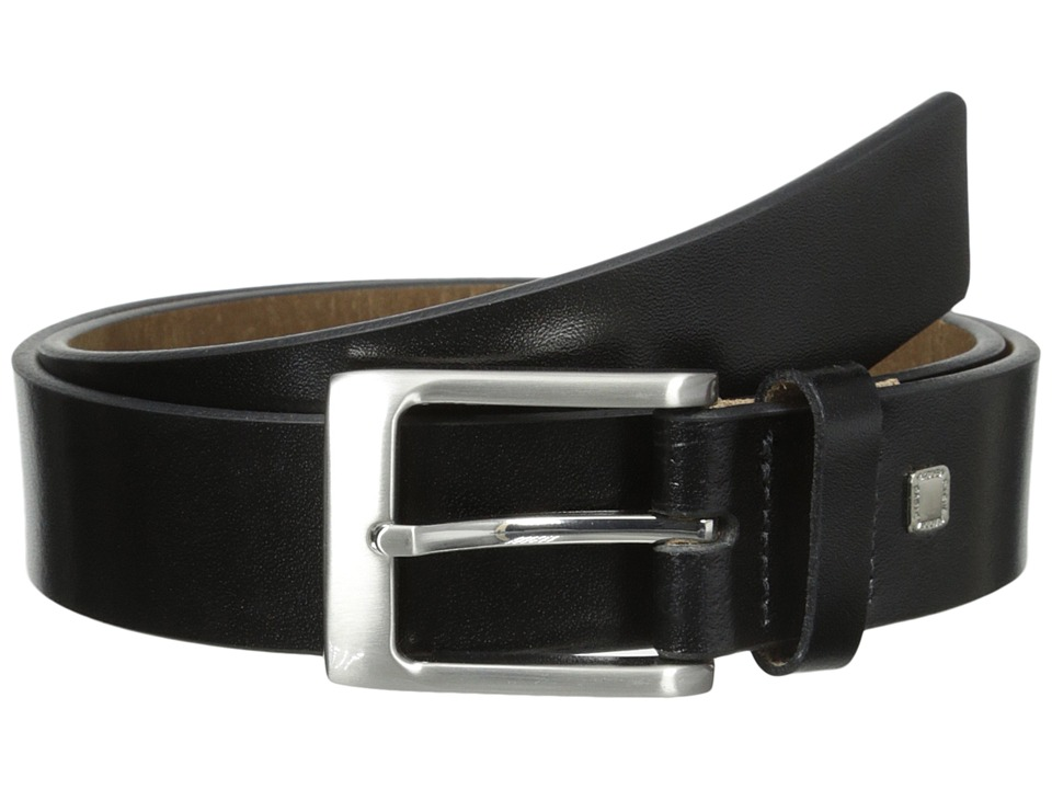 Steve Madden - 35mm Burnished Leather Belt (Black) Men's Belts