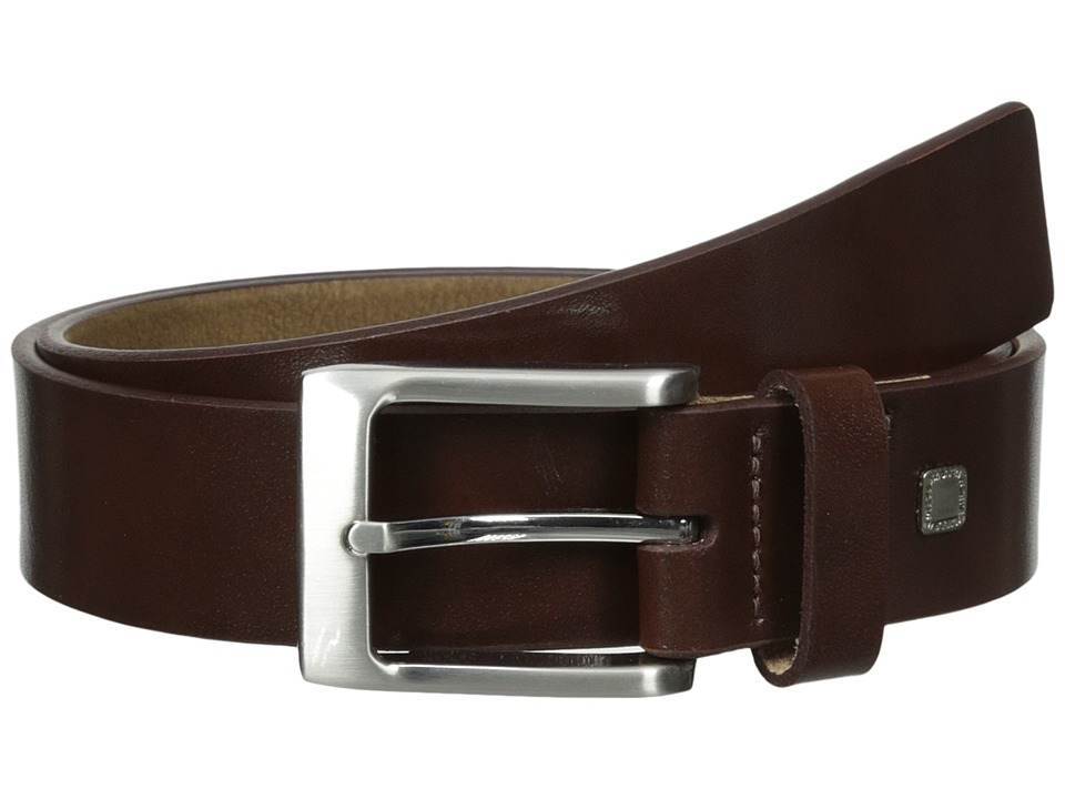 Steve Madden 35mm Burnished Leather Belt (Brown) Men