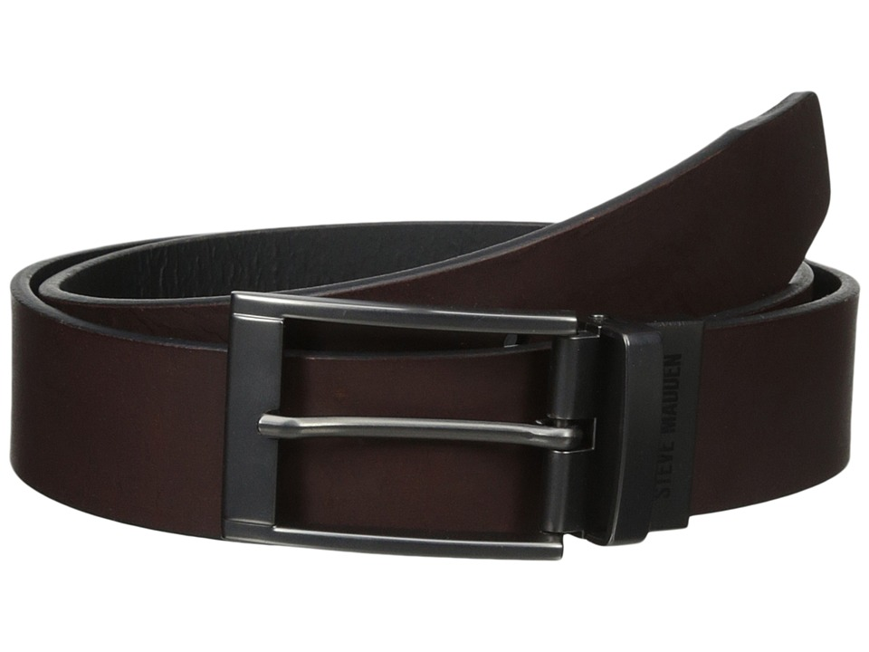 Steve Madden 35mm Two-Tone Leather Reversible Belt (Brown/Black) Men