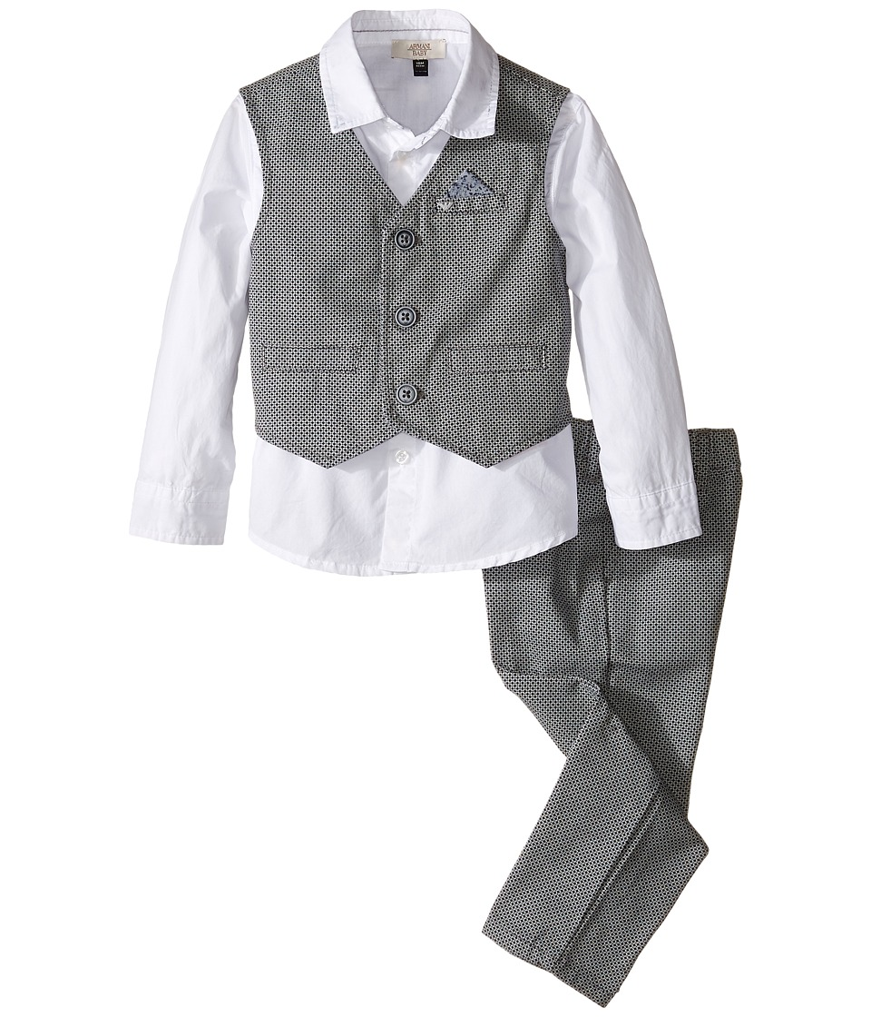 Armani Junior - Three-Piece Shirt, Pants, and Vest Set (Infant) (Blue) Boy's Active Sets