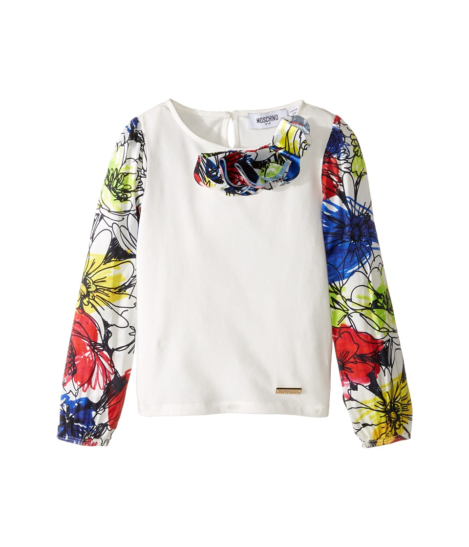 Moschino Kids - Details Top (Little Kids/Big Kids) (Flowers) Girl's Long Sleeve Pullover