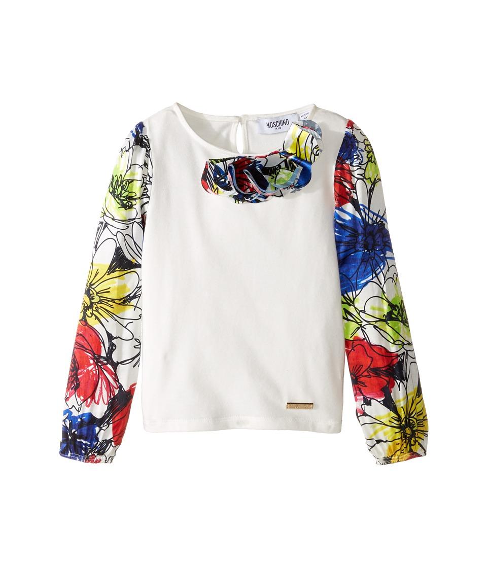 Moschino Kids - Details Top (Little Kids/Big Kids) (Flowers) Girl's Long Sleeve Pullover