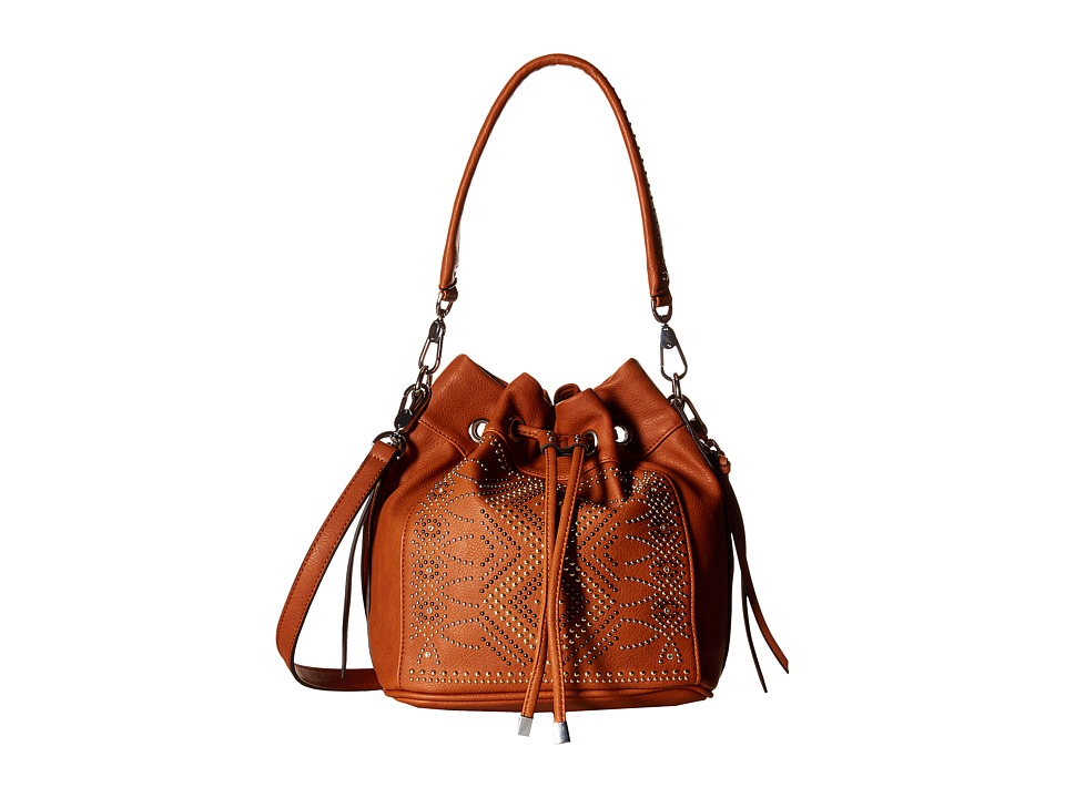 Chinese Laundry - Emmanuelle Pinstud Single Handle Bucket Bag w/ Adjustable Strap (Cognac) Handbags