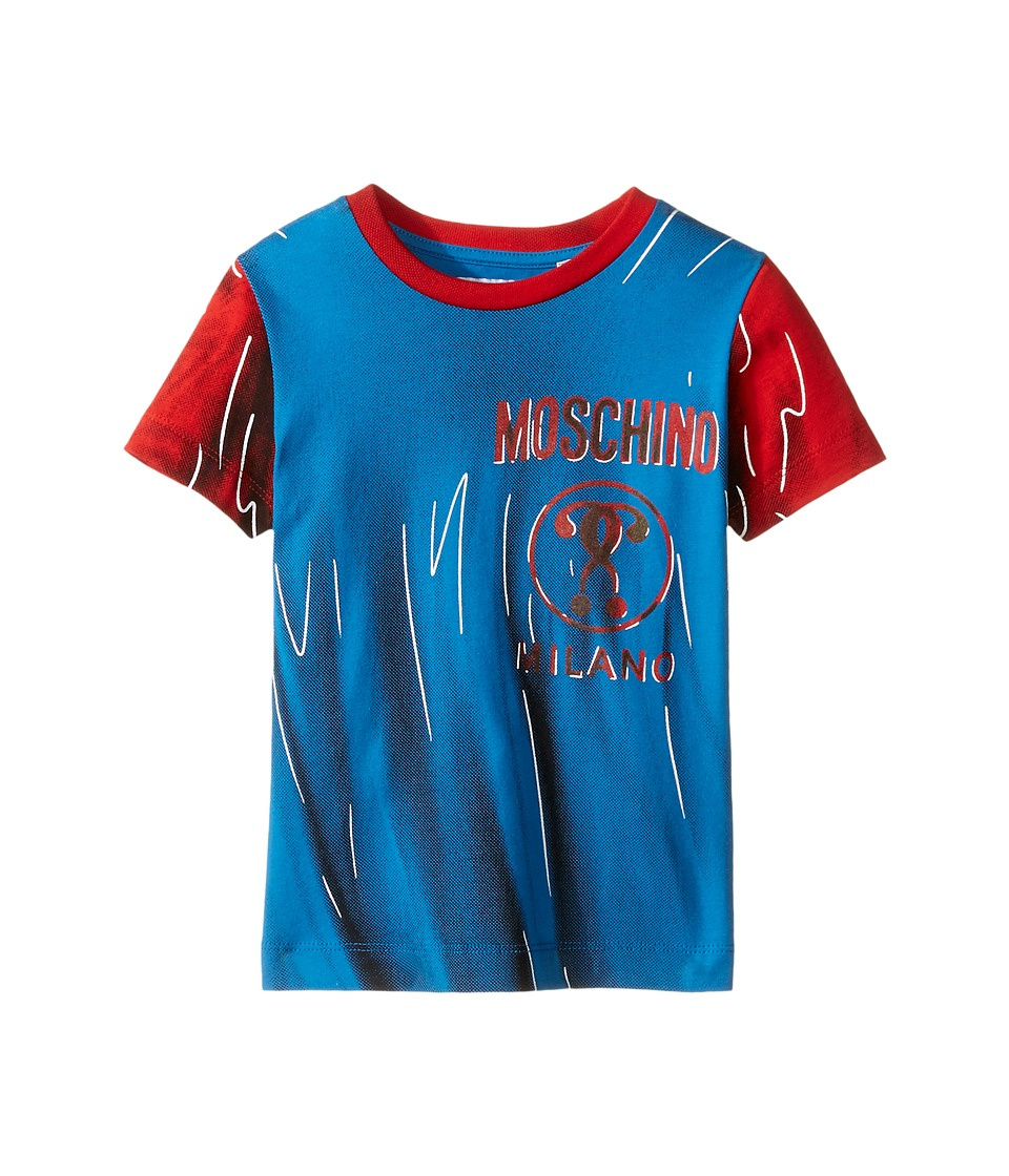 Moschino Kids - Short Sleeve Print Effect Tee Shirt (Little Kids/Big Kids) (Light Blue) Boy's T Shirt