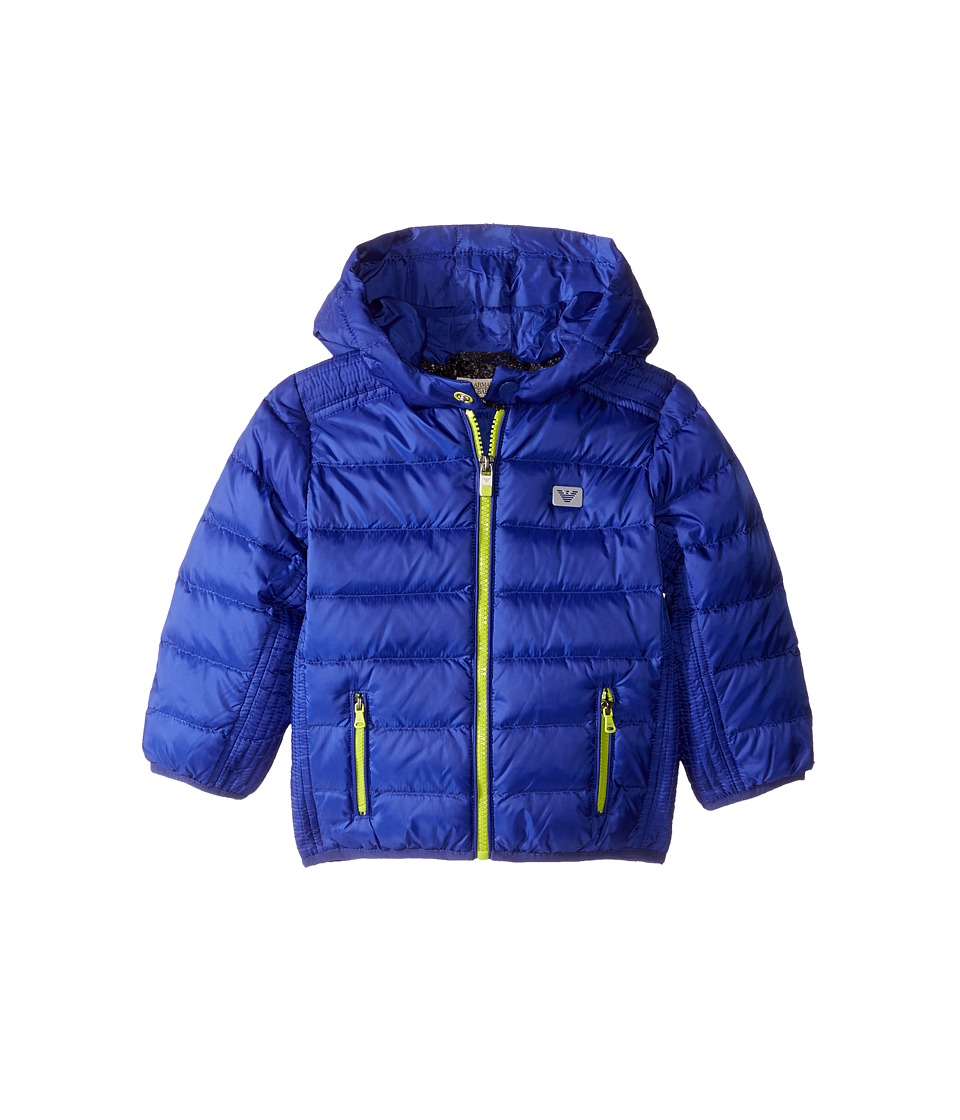Image of Armani Junior - Down Puffer with Hood (Infant) (Blue) Boy's Coat