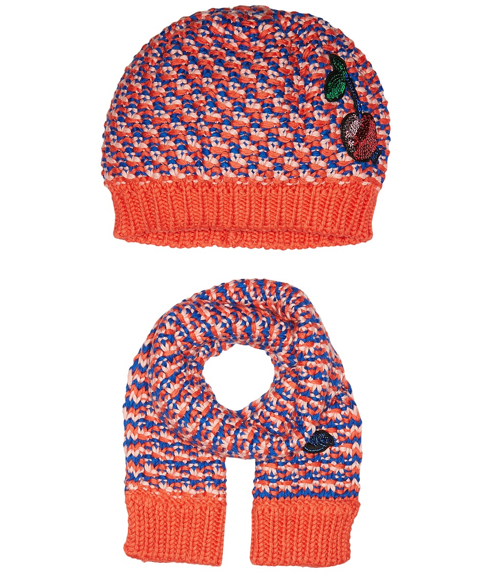 Little Marc Jacobs - Knitted Scarf and Hat Fancy Sequined Cherry Patch (Red/Blue) Scarves