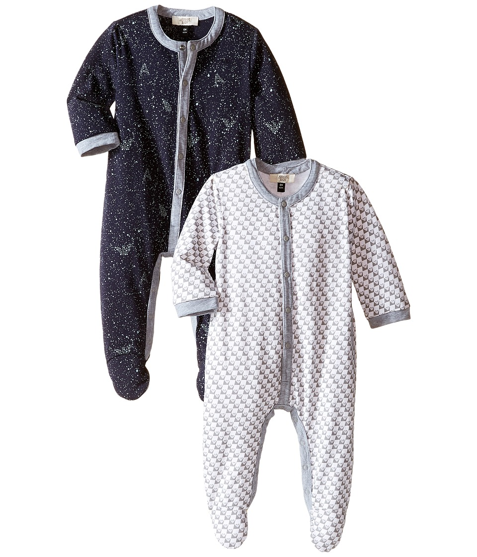 Armani Junior - Two-Piece Galaxy One-Piece Set (Infant) (Grey/White/Blue) Boy's Active Sets