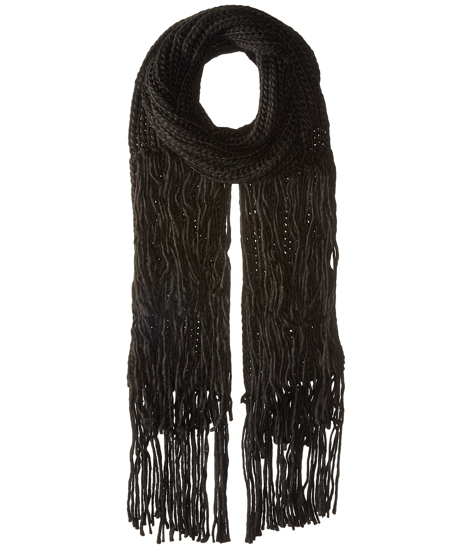 BCBGeneration - Fringed Long and Skinny Scarf (Black) Scarves