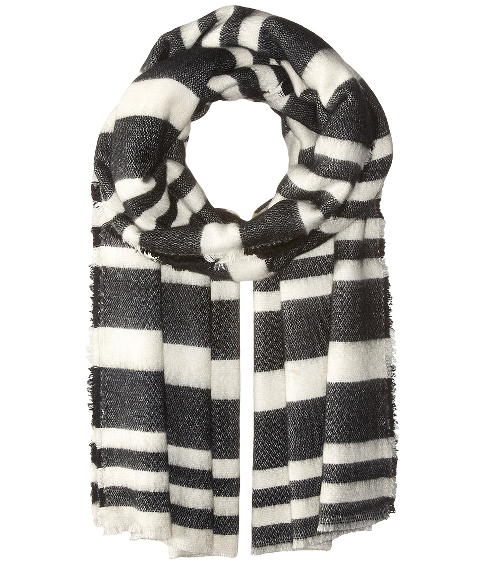 BCBGeneration - Striped Square Scarf (Black) Scarves