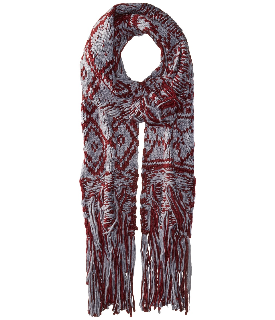 BCBGeneration - Mixed Fringe Long and Skinny Scarf (Wineberry) Scarves
