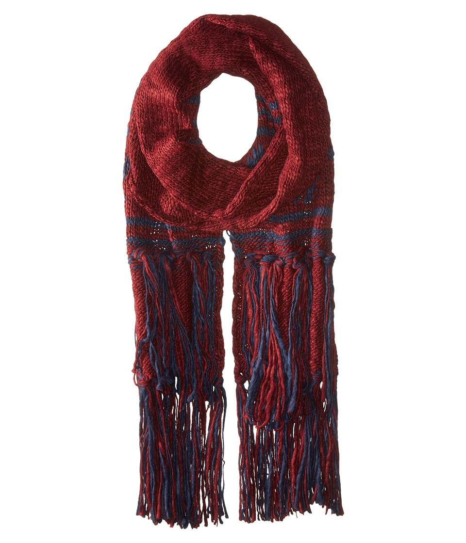 BCBGeneration - Wonderlust Border Fringe Muffler Scarf (Wineberry) Scarves
