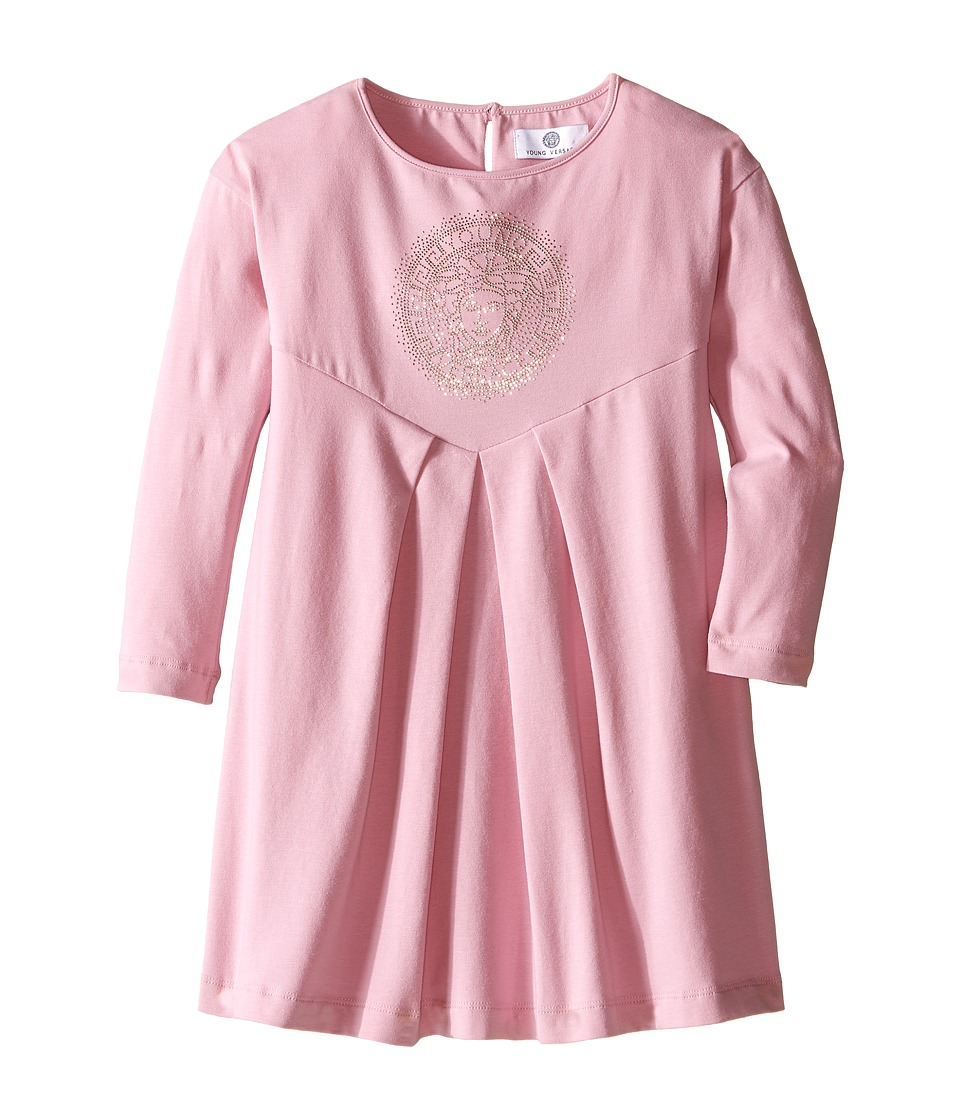 Versace Kids - Long Sleeve Jersey Dress with Medusa Logo Detail (Toddler/Little Kids) (Rose) Girl's Dress