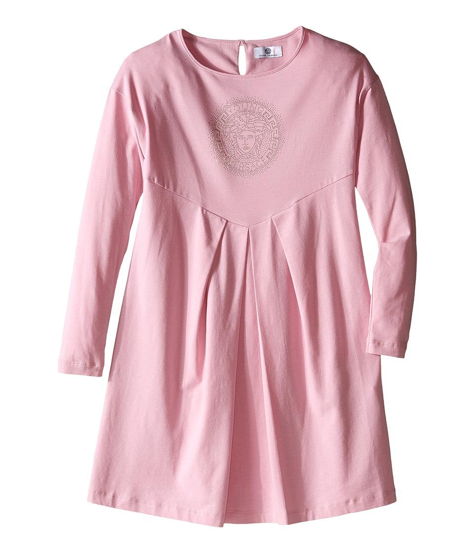 Versace Kids - Long Sleeve Jersey Dress with Medusa Logo Detail (Big Kids) (Rose) Girl's Dress