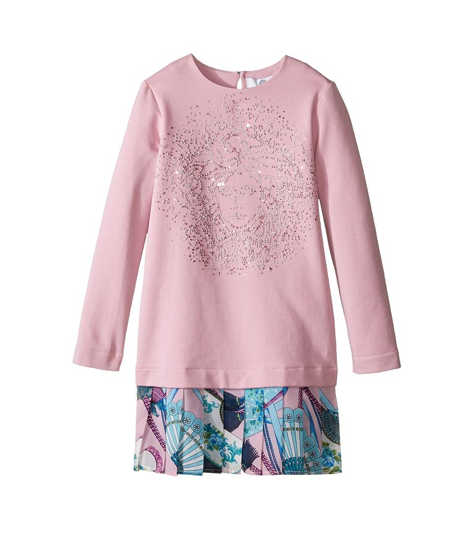 Versace Kids - Long Sleeve Drop Waist Dress w/ Medusa Design (Toddler/Little Kids) (Pink/Multi) Girl's Dress
