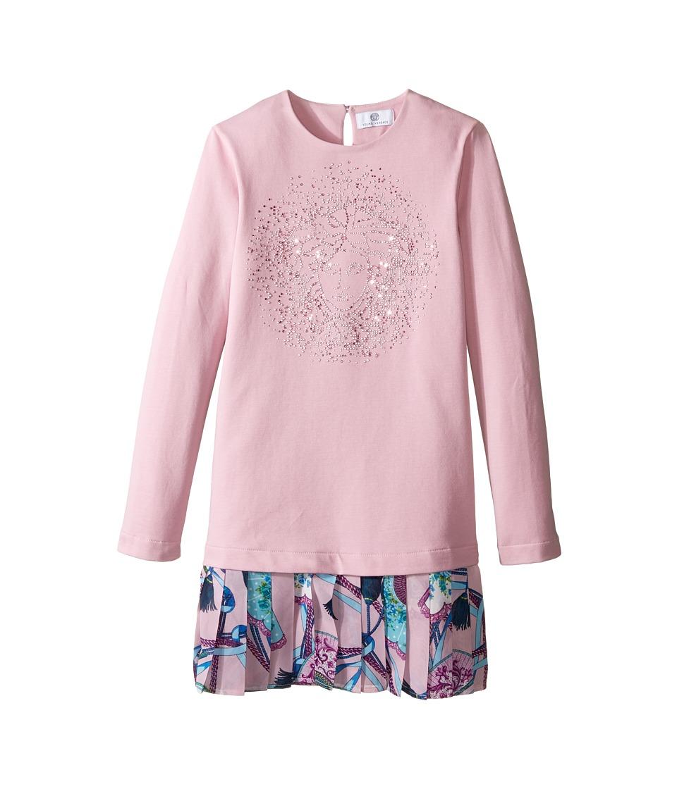 Versace Kids - Long Sleeve Drop Waist Dress w/ Medusa Design (Big Kids) (Pink/Multi) Girl's Dress