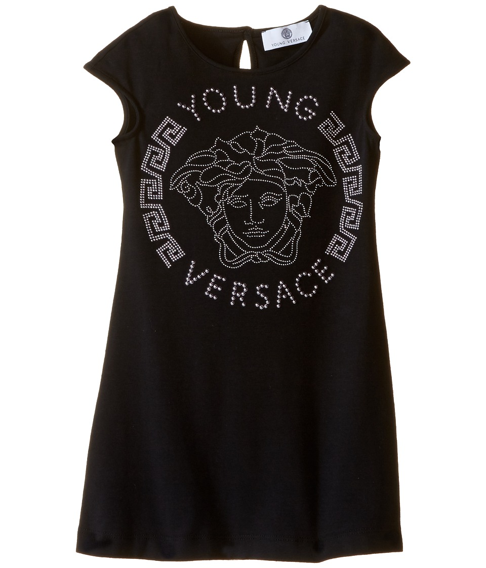 Versace Kids - Cap Sleeve Dress with Large Medusa Logo (Toddler/Little Kids) (Black/Pink) Girl's Dress