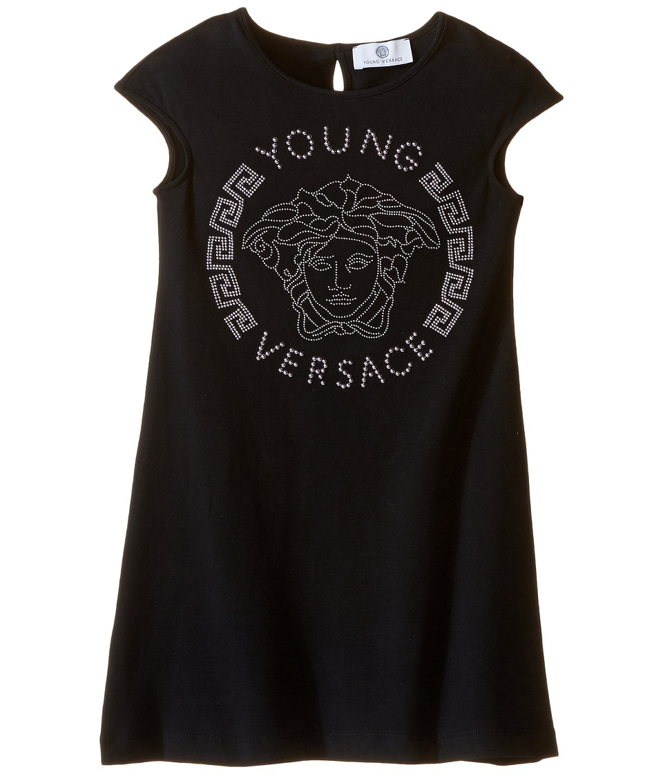 Versace Kids - Cap Sleeve Dress with Large Medusa Logo (Big Kids) (Black/Pink) Girl's Dress