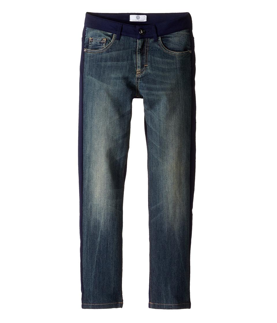 Versace Kids - Denim and Sweat Mixed Fabric Pants (Big Kids) (Denim Blue) Boy's Jeans
