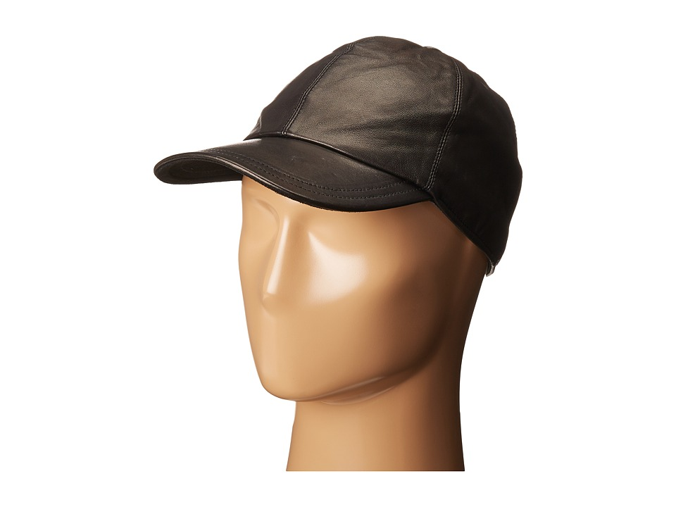 John Varvatos Star U.S.A. - Leather BB Cap (Black) Caps