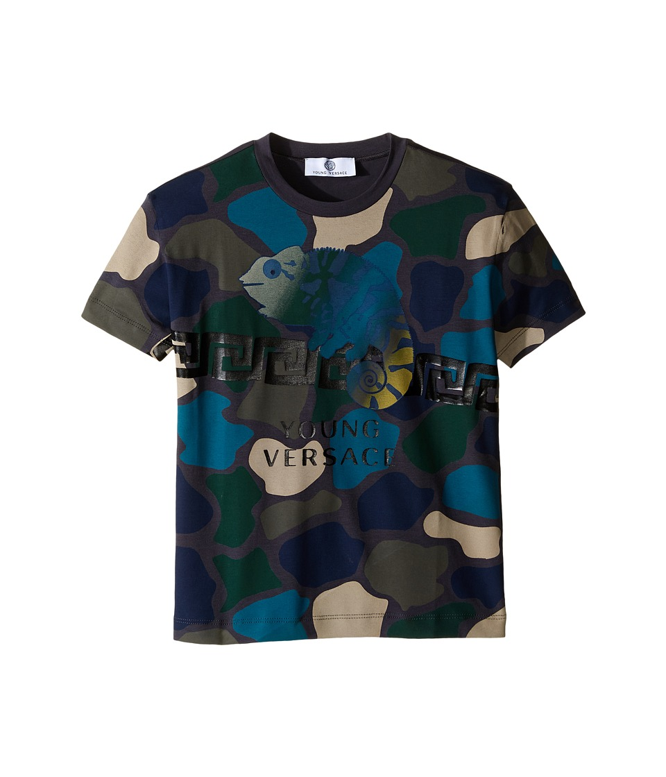 Versace Kids - Short Sleeve Tee Camo Print and Logo (Toddler/Little Kids) (Multi) Boy's T Shirt