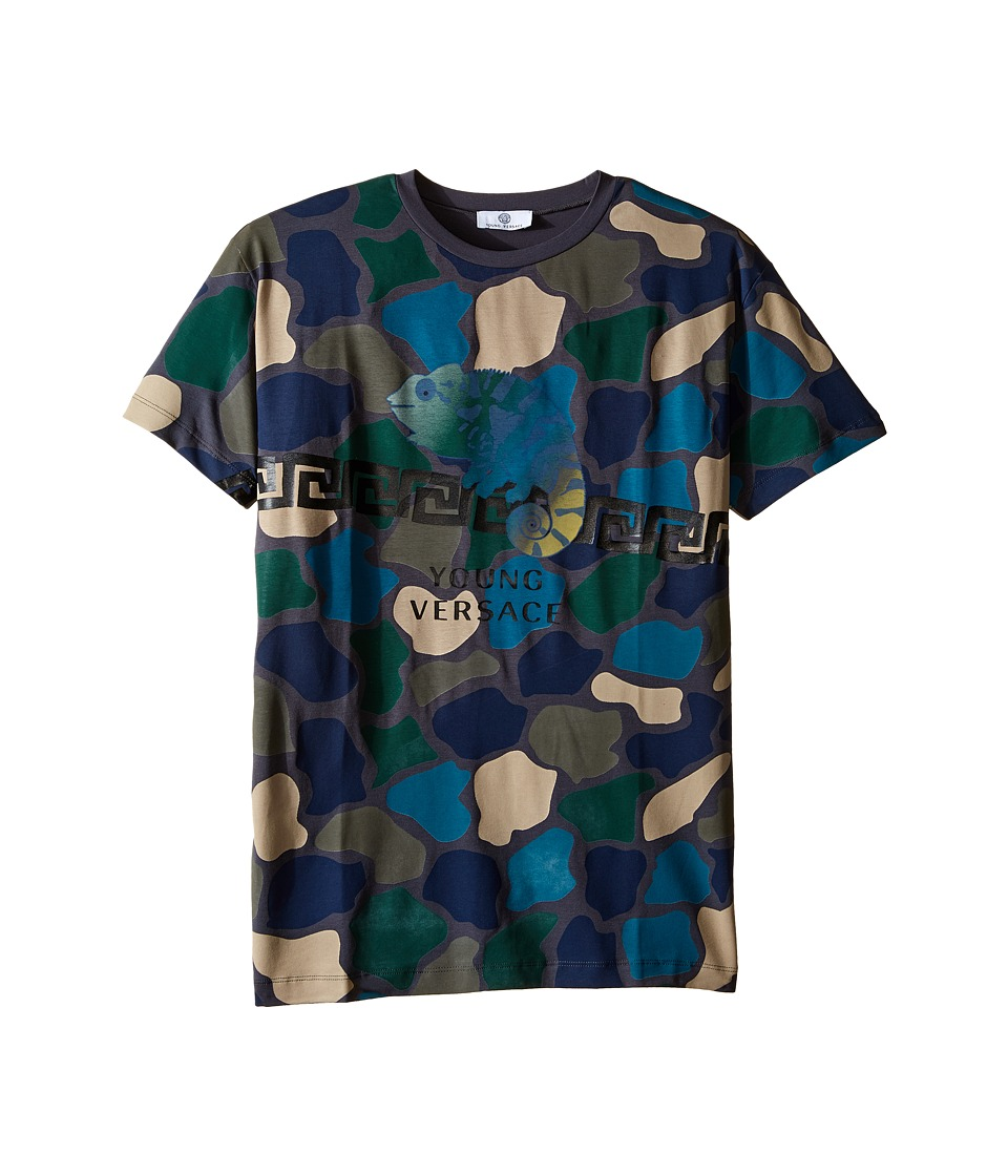 Versace Kids - Short Sleeve Tee Camo Print and Logo (Big Kids) (Multi) Boy's T Shirt