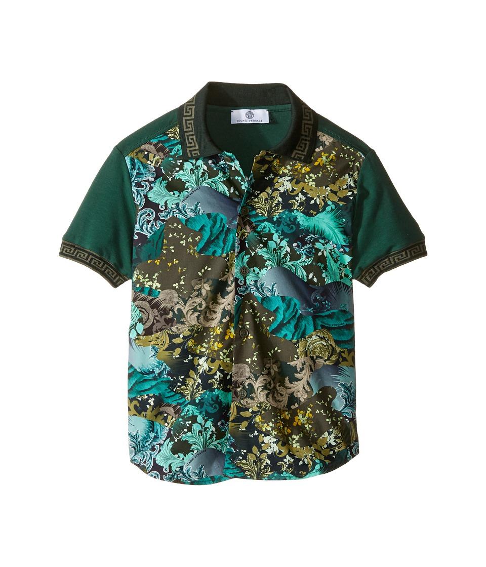 Versace Kids - Short Sleeve Button Down w/ Camouflage Print (Big Kids) (Multi/Black) Boy's Clothing
