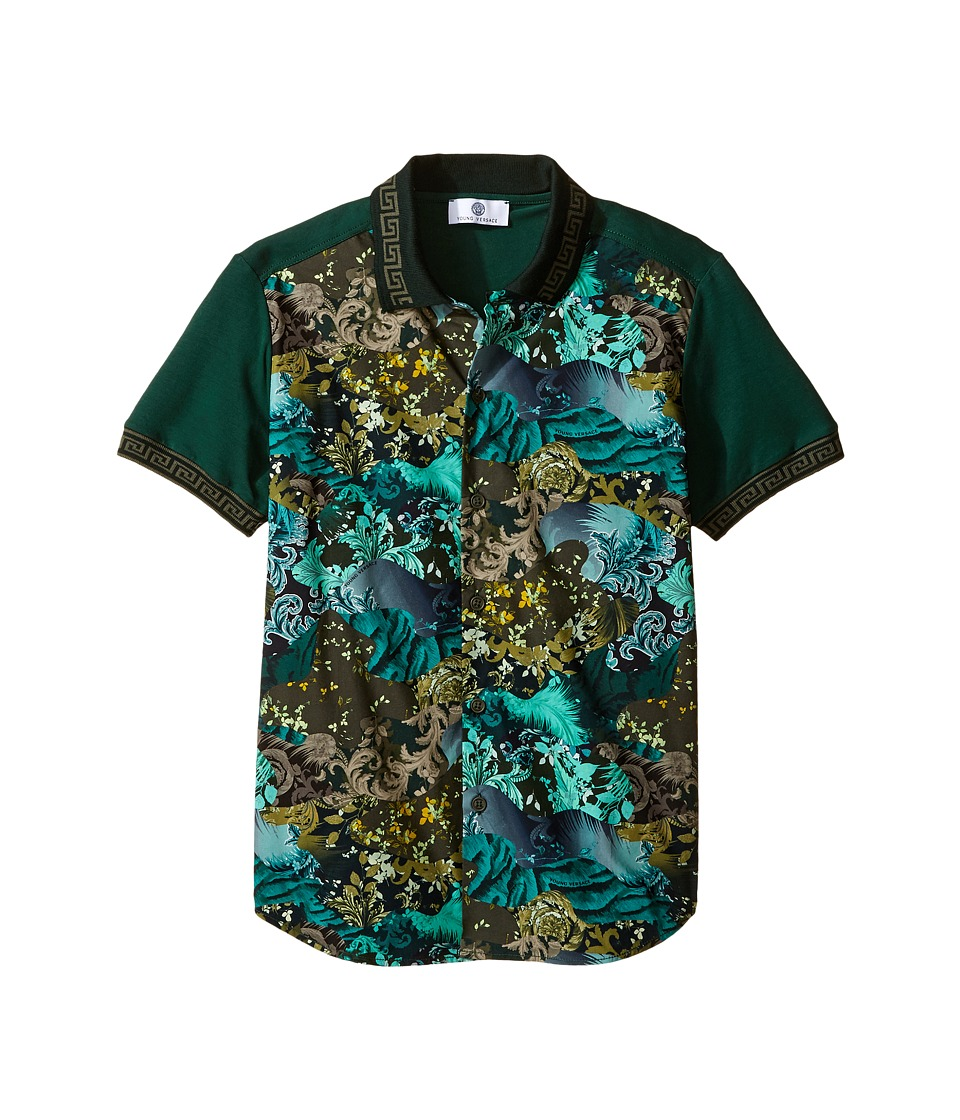 Versace Kids - Short Sleeve Button Down w/ Camouflage Print (Big Kids) (Multi/Black) Boy's Clothing