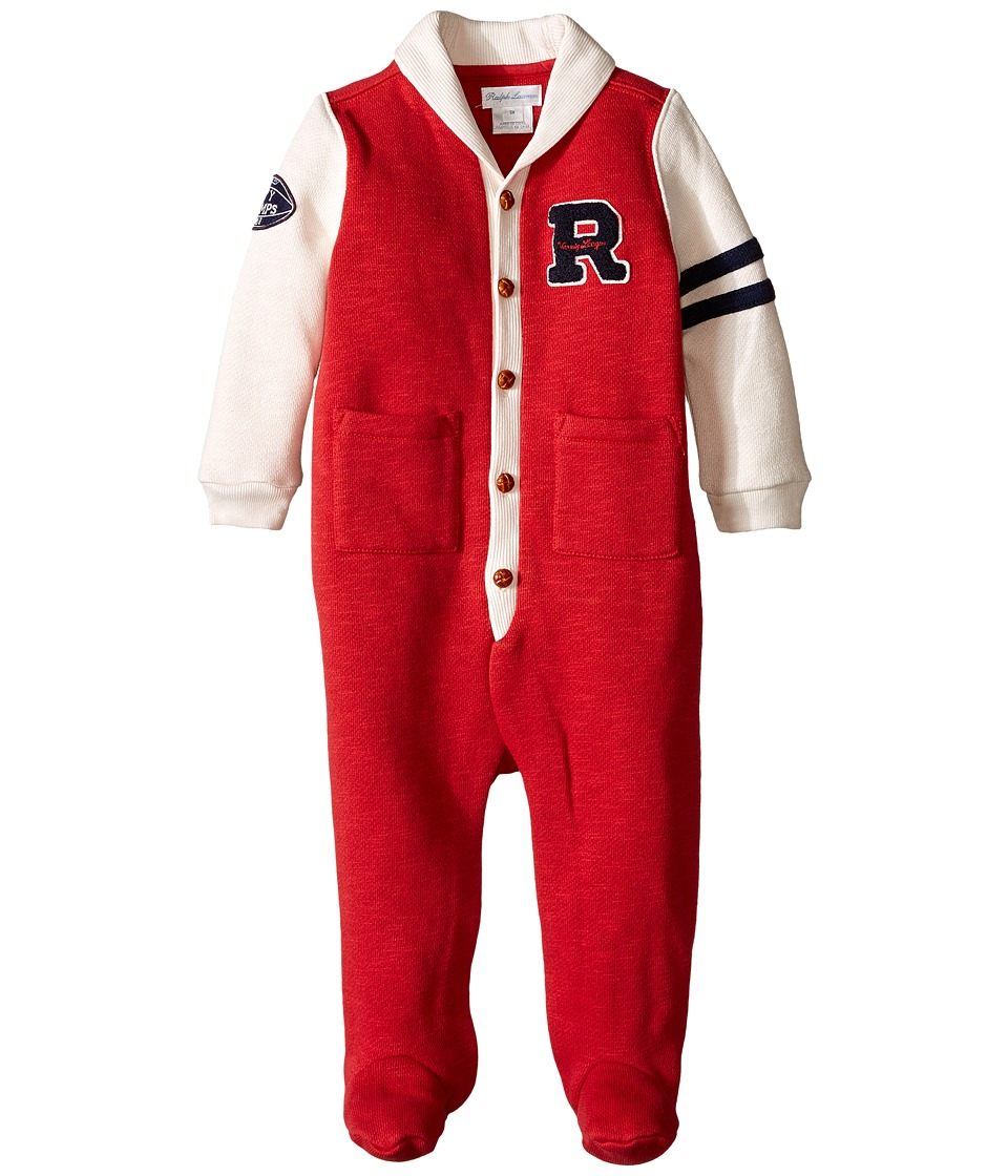 Ralph Lauren Baby - Fleece Shawl One-Piece Coveralls (Infant) (Camden Red/Multi) Boy's Overalls One Piece